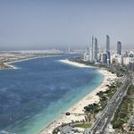 United Arab Emirates, Abu Dhabi - Corniche aerial view